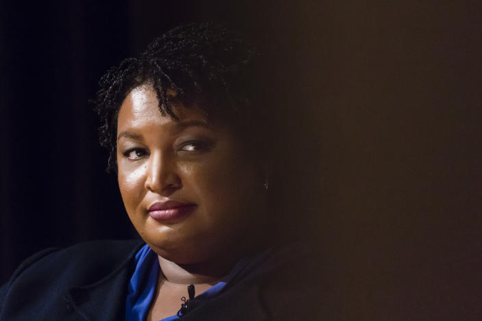 ATLANTA, GA - APRIL 23- Stacey Abrams is seen during a conversation with Valerie Jarrett, former advisor to President Obama, at The Carter Center on Tuesday, April 23, 2019 in Atlanta, GA. (Photo by Elijah Nouvelage for The Washington Post via Getty Images)