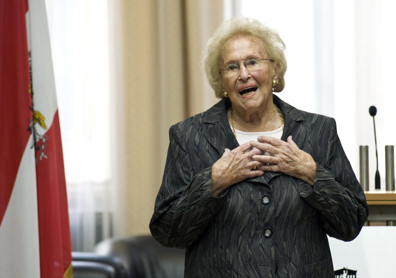 NIn this Aug. 31, 2012 photo provided by the Austrian parliament 95 year-old soprano Hilde Zadek delivers a speech after being awarded with the Great Medal of Honor of the Austrian Republic, at the parliament in Vienna, Austria. For Zadek, the city she once despised as part of Hitler's evil empire has long become a home that she says she would never leave _ and one that is proud to call her own. She has been showered with medals, granted high honorary titles and a singer's competition named after her 13 years ago has turned into an international launching pad for future opera stars. (AP Photo/Parlamentsdirektion/Bildagentur Zolles KG/Jacqueline Godany)