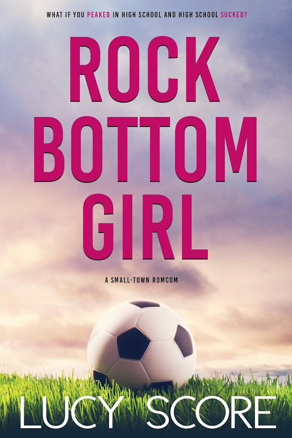 """<p>Described as a """"small-town rom-com,"""" <span><strong>Rock Bottom Girl</strong> by Lucy Score</span> ($15) follows Marley as she moves back home hoping for a fresh start. Of course, she never would have imagined her fresh start to consist of teaching PE and coaching soccer at her old high school, which is where Jake, her high-school crush, also teaches. Luckily, they strike up a deal to help each other out, and a fake relationship ensues - only the fake relationship starts to feel a little too real.</p> <p>There are so many reasons this book would make for a highly entertaining movie, but for starters: a """"meet-puke,"""" a catty girls soccer team that grows on you, a makeover scene for Marley, and a surprisingly endearing nemesis. Also, the progression of Marley's character arc, including her relationship with herself and other supporting characters, is really satisfying. </p>"""