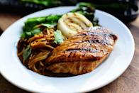 """<p>Pantry staples like peanut butter, honey, and bottled barbecue sauce come together in this easy marinade. Reserve some and reduce it into a delicious sauce for noodles. </p><p><a href=""""https://www.thepioneerwoman.com/food-cooking/recipes/a94729/grilled-peanut-chicken-and-broccolini/"""" rel=""""nofollow noopener"""" target=""""_blank"""" data-ylk=""""slk:Get Ree's recipe."""" class=""""link rapid-noclick-resp""""><strong>Get Ree's recipe.</strong></a></p><p><a class=""""link rapid-noclick-resp"""" href=""""https://go.redirectingat.com?id=74968X1596630&url=https%3A%2F%2Fwww.walmart.com%2Fbrowse%2Fhome%2Fgriddles-grill-pans%2F4044_623679_8140341_6082871&sref=https%3A%2F%2Fwww.thepioneerwoman.com%2Ffood-cooking%2Frecipes%2Fg36491151%2Fmarinade-recipes-for-grilling%2F"""" rel=""""nofollow noopener"""" target=""""_blank"""" data-ylk=""""slk:SHOP GRILL PANS"""">SHOP GRILL PANS</a></p>"""