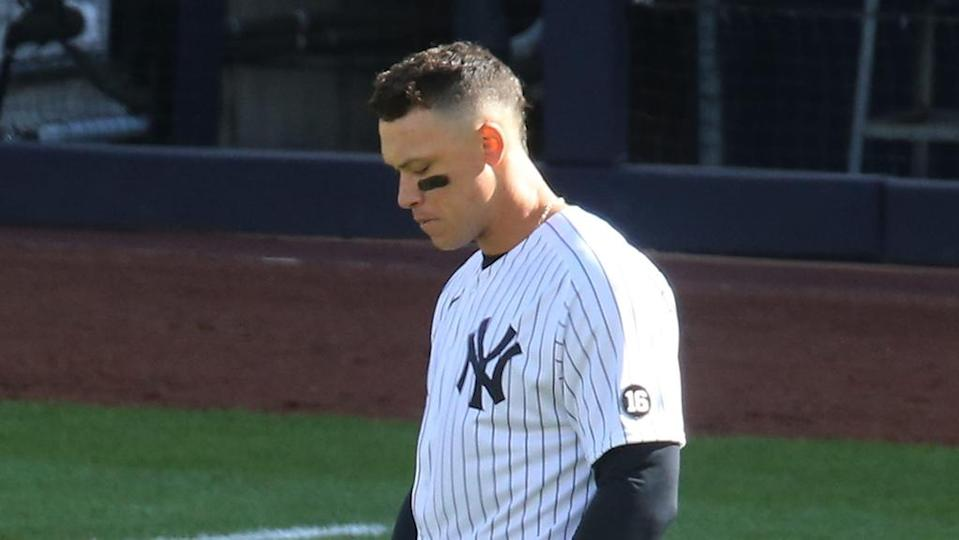 Aaron Judge with head down after strikeout