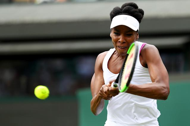 "<a class=""link rapid-noclick-resp"" href=""/olympics/rio-2016/a/1121027/"" data-ylk=""slk:Venus Williams"">Venus Williams</a> won her opening match at Wimbledon. (Getty Images)"