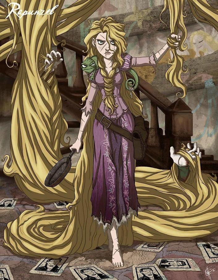 """<p>Rapunzel's signature long golden hair looks like it could strangle someone. And perhaps it did. All you need for a costume? A wig, a frying pan, and a seriously angry glare. <i>(Photo: <a href=""""http://www.jeftoonportfolio.blogspot.com/"""" rel=""""nofollow noopener"""" target=""""_blank"""" data-ylk=""""slk:Jeffrey Thomas"""" class=""""link rapid-noclick-resp"""">Jeffrey Thomas</a>)</i><br></p>"""