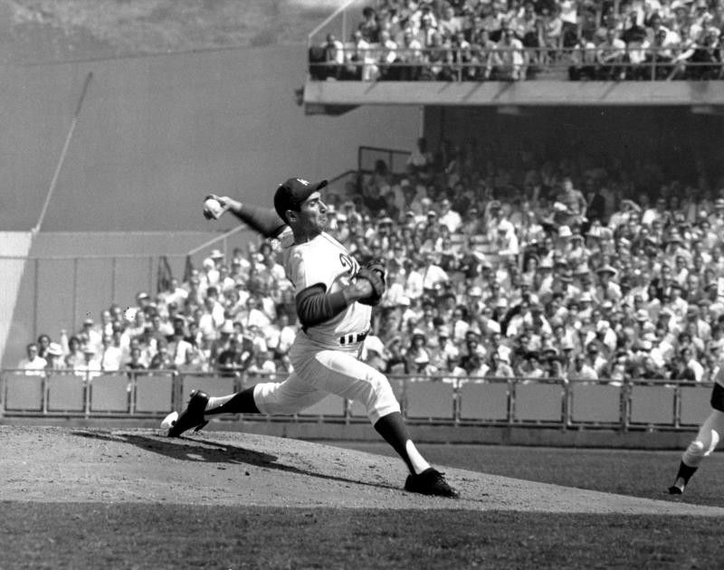 Sandy Koufax on the mound during the fifth game of the World Series in 1965. (AP Photo)
