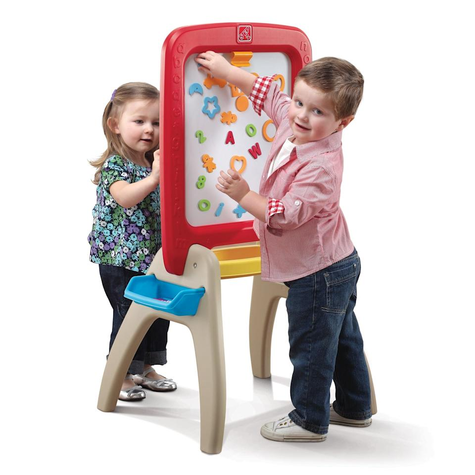 <p>This <span>Step2 Easel For Two</span> ($45) comes with magnetic letters and numbers.</p>