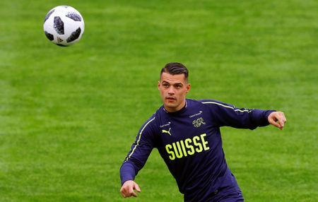 Soccer Football - FIFA World Cup - Switzerland Training - Freienbach, Switzerland - May 23, 2018 - Switzerland player Granit Xhaka. REUTERS/Arnd Wiegmann
