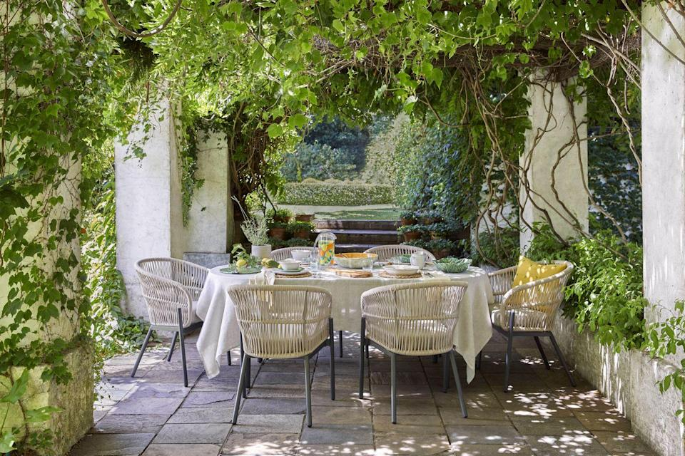 """<p>Turn your attention to creating a serene space ready for summer. Combining indoor comforts outside is the way forward, so think about layering up with <a href=""""https://www.housebeautiful.com/uk/garden/g32139876/outdoor-cushions/"""" rel=""""nofollow noopener"""" target=""""_blank"""" data-ylk=""""slk:cushions"""" class=""""link rapid-noclick-resp"""">cushions</a>, blankets and fabrics that add warmth. </p><p>'Styling your outdoor space should require much the same level of consideration as indoor styling,' reveals Jonny Brierley, CEO of <a href=""""https://www.modafurnishings.co.uk/"""" rel=""""nofollow noopener"""" target=""""_blank"""" data-ylk=""""slk:Moda Furnishings"""" class=""""link rapid-noclick-resp"""">Moda Furnishings</a>. 'Think about layering pattern, colours and materials to create a setting that is personal to you and your style.'</p><p><a href=""""https://go.redirectingat.com?id=127X1599956&url=https%3A%2F%2Fwww.johnlewis.com%2F&sref=https%3A%2F%2Fwww.housebeautiful.com%2Fuk%2Fgarden%2Fg36276312%2Finstagrammable-garden%2F"""" rel=""""nofollow noopener"""" target=""""_blank"""" data-ylk=""""slk:Shop the full look at John Lewis"""" class=""""link rapid-noclick-resp"""">Shop the full look at John Lewis</a></p>"""