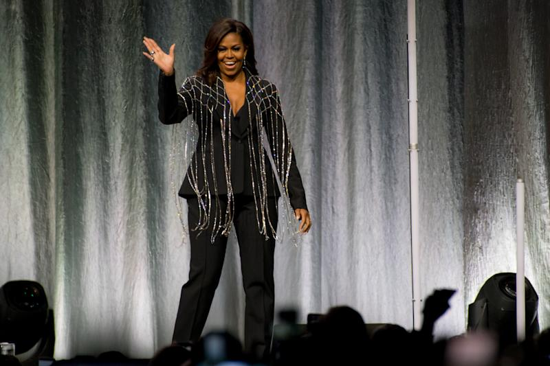 """SCOTIABANK ARENA, TORONTO, ONTARIO, CANADA - 2019/05/04: Toronto hosted former First Lady, Michelle Obama, as she travels the continent on her book tour, """"Becoming"""". """"Becoming"""" is an autobiographical memoir of the First Lady's time in office. (Photo by Angel Marchini/SOPA Images/LightRocket via Getty Images)"""
