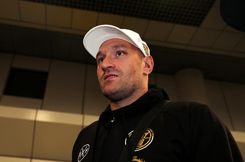 Tyson Fury at Manchester Airport. (Photo by Peter Byrne/PA Images via Getty Images)