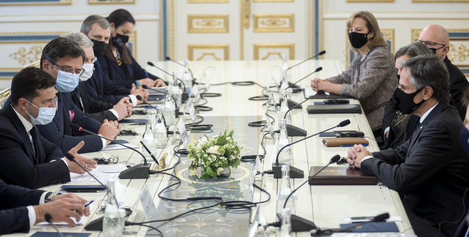 In this photo released by the Ukrainian Presidential Press Office, Ukrainian President Volodymyr Zelenskyy, left, and U.S. Secretary of State Antony Blinken, right, attend the during their meeting talks in Kyiv, Ukraine, Thursday, May 6, 2021. (Ukrainian Presidential Press Office via AP)