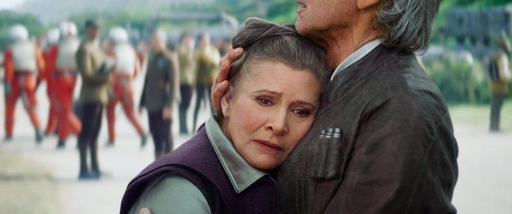 Carrie Fisher and Harrison Ford in Star Wars: The Force Awakens.