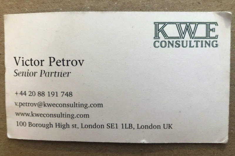 "This undated photo provided by lawyer Darryl Levitt shows a business card that he was given by an undercover operative using the alias Victor Petrov during a meeting at a Canadian hotel in 2017. Petrov claimed to be working for KWE Consulting, a London-based firm that does not appear to exist. Levitt said in newly filed court documents that Petrov ""bears a striking similarity"" to Aharon Almog-Assouline, a spy surprised by the AP at a New York hotel restaurant in January. (Darryl Levitt via AP)"