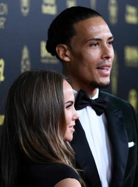 Liverpool's Dutch defender Virgil van Dijk and his wife Rike Nooitgedagt in Paris on Monday, where he claimed second place in the Ballon d'Or behind Lionel Messi (AFP Photo/FRANCK FIFE)