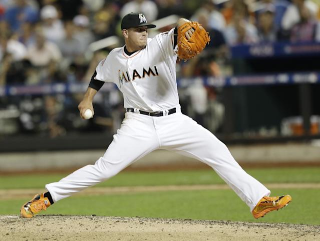 FILE - In this July 16, 2013 file photo, National League's Jose Fernandez, of the Miami Marlins, pitches during the sixth inning of the All-Star baseball game, in New York. Jose Fernandez of the Miami Marlins and Wil Myers of the Tampa Bay Rays have been selected baseball's Rookies of the Year. Fernandez stood out in a deep National League class, and the pitcher received 26 of 30 first-place votes from a Baseball Writers' Association of America panel in results revealed Monday, Nov. 11, 2013.(AP Photo/Kathy Willens, File)