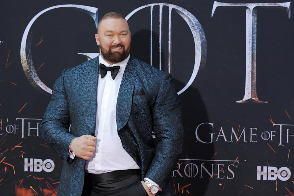 Hafthor Julius Bjornsson arrives for the premiere of the final season of