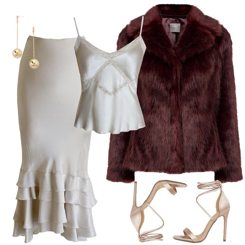 "<p><a rel=""nofollow"" rel=""nofollow"" href=""http://lilyashwell.com/clothes/tops/shiva-top-fog-silk.html"">Embrace the satin trend with a matching set of a sensual cami and ruffled tulip midi skirt. Top it off with a luxurious faux fur coat rendered in a rich hue. Finish off with metallic accessories of barely-there strappy heels and sophisticated ball drop earrings.</a></p>"
