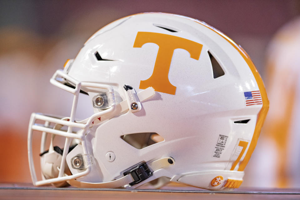 FAYETTEVILLE, AR - NOVEMBER 7:  Helmet of the Tennessee Volunteers on the sidelines during a game against the Arkansas Razorbacks in the first half at Razorback Stadium on November 7, 2020 in Fayetteville, Arkansas.  The Razorbacks defeated the Volunteers 24-13.  (Photo by Wesley Hitt/Getty Images)