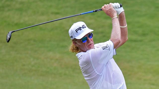 Miguel Angel Jimenez won the Regions Tradition on Sunday for his first senior major title, closing with a 2-under 70 for a three-stroke victory.