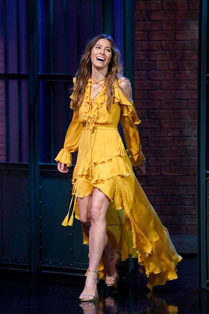 LATE NIGHT WITH SETH MEYERS -- Episode 725 -- Pictured: Actress Jessica Biel arrives on August 16, 2018 -- (Photo by: Lloyd Bishop/NBC/NBCU Photo Bank via Getty Images)