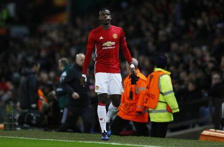 Manchester United's Paul Pogba walks down the tunnel after sustaining an injury and being substituted