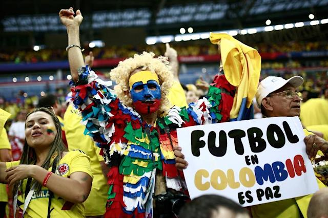 Colombian fans have been a colourful presence in Russia (AFP Photo/Benjamin CREMEL)