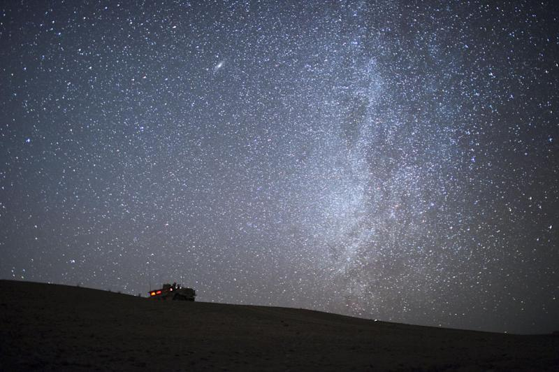 An armoured vehicle of US Marines from 1st Battalion 8th, Bravo is seen in front of The Milky Way: DMITRY KOSTYUKOV/AFP/Getty Images