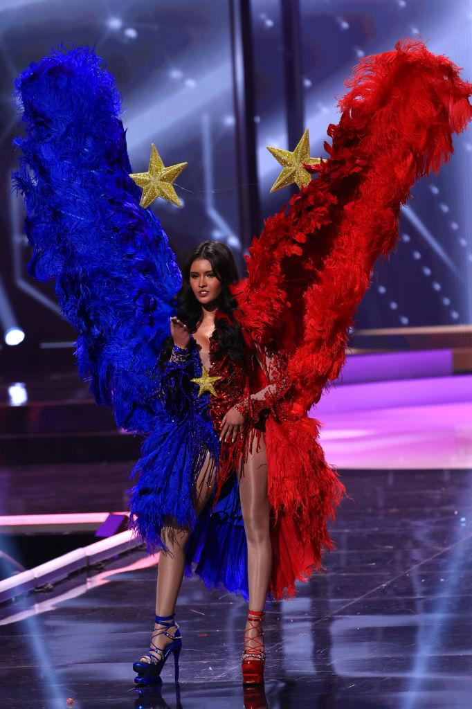 <p>Miss Universe Philippines Rabiya Mateo appears onstage at the Miss Universe 2021 - National Costume Show at Seminole Hard Rock Hotel & Casino on May 13, 2021 in Hollywood, Florida. (Photo by Rodrigo Varela/Getty Images)</p>