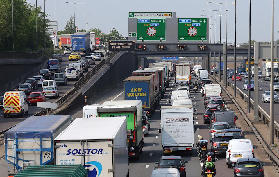 Embargoed to 0001 Sunday April 14 File photo dated 27/5/2016 of traffic queues along the M25 in Dartford, Kent. Drivers are being warned they could face severe queues next week with more than 25 million leisure car journeys expected on UK roads.