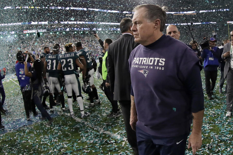 <p>New England Patriots head coach Bill Belichick walks off the field after the NFL Super Bowl 52 football game against the Philadelphia Eagles Sunday, Feb. 4, 2018, in Minneapolis. The Eagles won 41-33. (AP Photo/Mark Humphrey) </p>