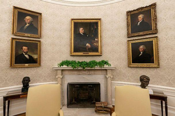 PHOTO: The Oval Office of the White House is newly redecorated for the first day of President Joe Biden's administration, Jan. 20, 2021, in Washington, D.C., including a painting of former President Franklin D. Roosevelt over the mantle of the fireplace. (Alex Brandon/AP)