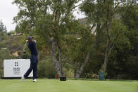 Tiger Woods hits from the 11th tee during the third round of the Zozo Championship golf tournament Saturday, Oct. 24, 2020, in Thousand Oaks, Calif. (AP Photo/Marcio Jose Sanchez)