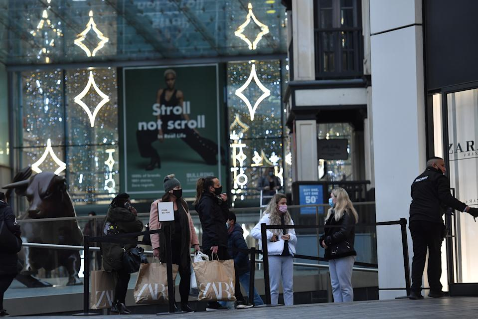 People queueing outside Zara in Birmingham as non-essential shops in England open their doors to customers for the first time after the second national lockdown ends and England has a strengthened tiered system of regional coronavirus restrictions.