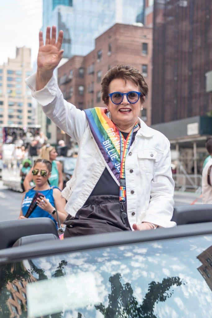 Billie Jean King, at the 2018 New York City Pride March, says rather than looking at the past, she looks ahead to the ongoing efforts for equal rights.