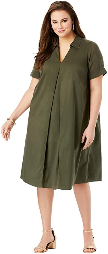 "<br><br><strong>Roaman's</strong> Plus Size Collared Swing Dress, $, available at <a href=""https://amzn.to/35AMOuM"" rel=""nofollow noopener"" target=""_blank"" data-ylk=""slk:Amazon"" class=""link rapid-noclick-resp"">Amazon</a>"