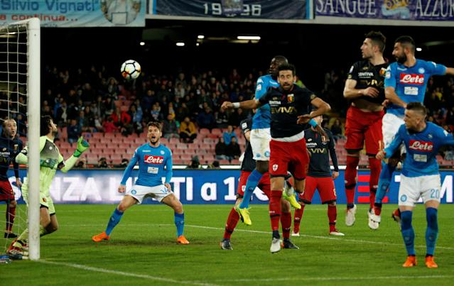 Soccer Football - Serie A - Napoli vs Genoa - Stadio San Paolo, Naples, Italy - March 18, 2018 Napoli's Raul Albiol scores their first goal REUTERS/Ciro De Luca