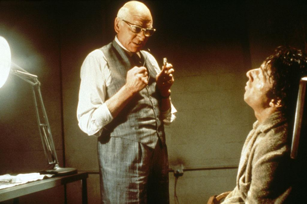 """""""<a href=""""http://movies.yahoo.com/movie/1800093269/info"""">Marathon Man</a>,"""" directed by John Schlesinger  """"In the most famous scene, a bald and menacing Olivier [as an exiled Nazi war criminal] circles innocent marathon runner Dustin Hoffman, who's strapped in a dentist chair. It's so scary you never want to go to the dentist afterwards. This scene spawned the famous story: in theory, Hoffman stayed out all night to appear sufficiently haggard the next day, and Olivier said, 'Why don't you try acting, dear boy.'"""""""