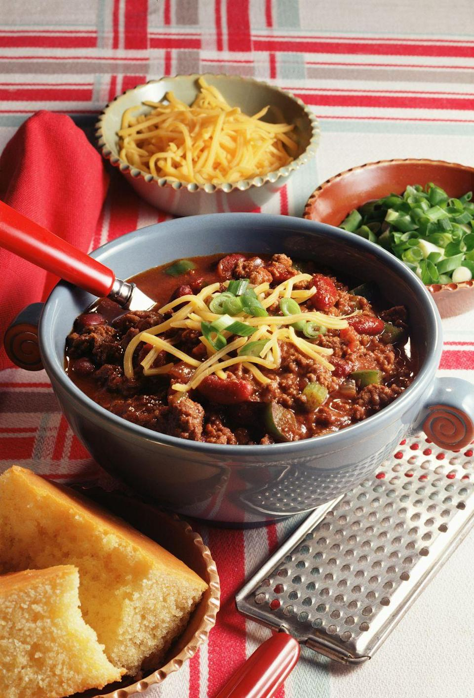 <p>Everybody has a chili recipe they swear by. Put yours to the test by hosting friends for a rollicking chili cook-off, grading entries on things like presentation, smell, creativity, and—of course—best tasting.</p>