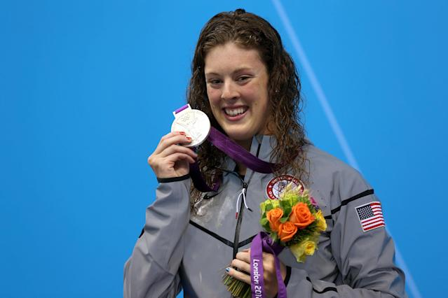 Silver medallist Allison Schmitt of the United States poses on the podium during the medal ceremony following the Women's 400m Freestyle final on Day 2 of the London 2012 Olympic Games at the Aquatics Centre on July 29, 2012 in London, England. (Photo by Clive Rose/Getty Images)