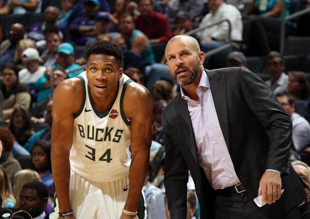 "<a class=""link rapid-noclick-resp"" href=""/nba/players/5185/"" data-ylk=""slk:Giannis Antetokounmpo"">Giannis Antetokounmpo</a> confirmed that he talked to Jason Kidd before he's firing, but he didn't want to say much more than that. (Getty)"
