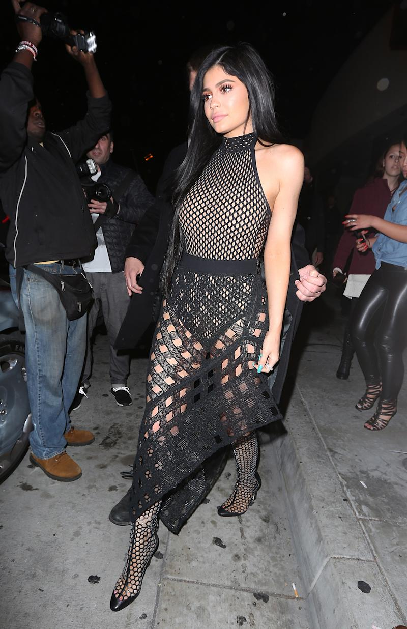 See Thru Tv Kylie Jenner Shows Off Curves In See Through Mesh Ensemble Then