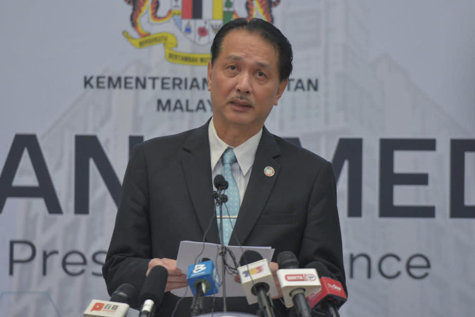 Health director-general Datuk Dr Noor Hisham Abdullah said the three imported cases involved two Malaysians and one permanent resident returning from abroad. — Picture by Shafwan Zaidon