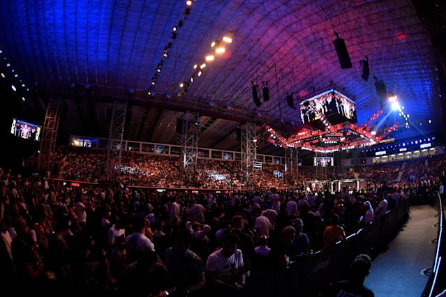 A general view of the Octagon during UFC 242 at The Arena on Sept. 7, 2019, in Yas Island, Abu Dhabi, United Arab Emirates. (Photo by Jeff Bottari/Zuffa LLC via Getty Images)