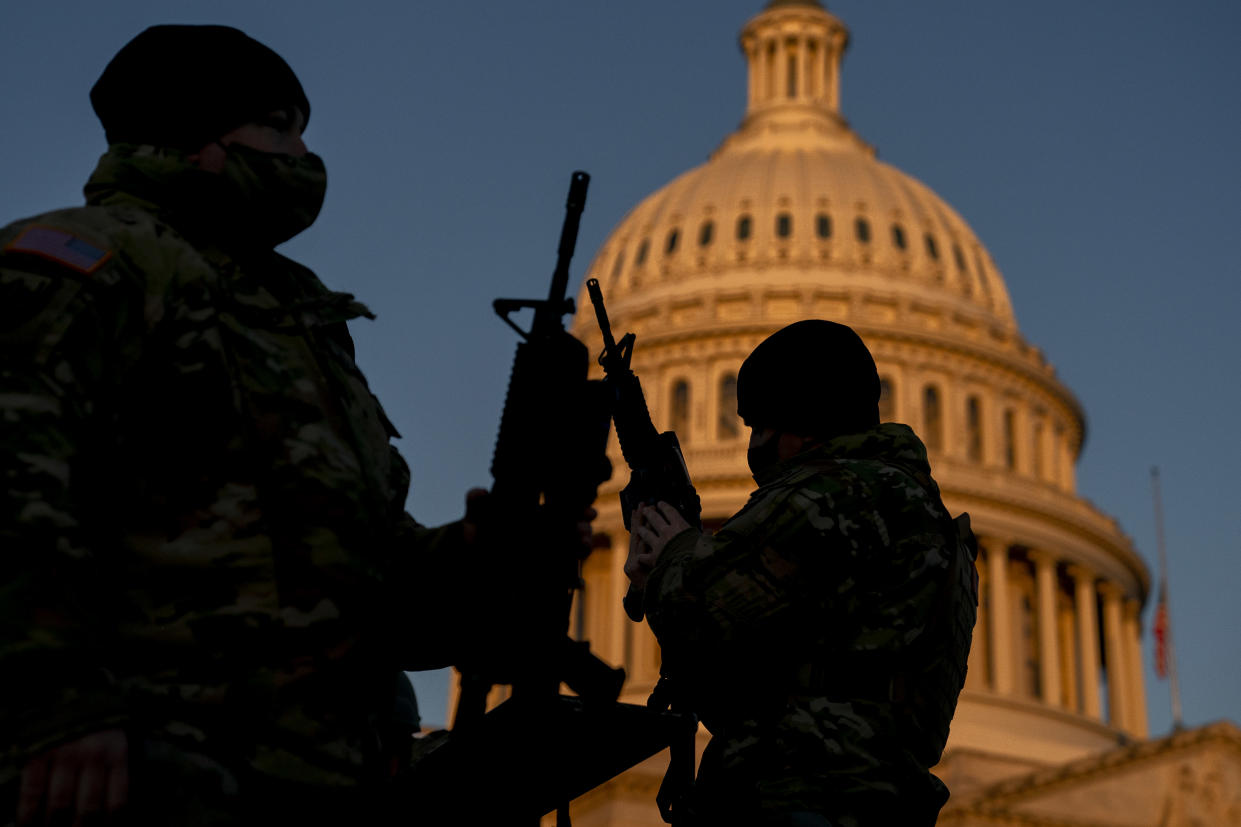 Weapons are distributed to members of the National Guard outside the U.S. Capitol on January 13, 2021 in Washington, DC. (Stefani Reynolds/Getty Images)