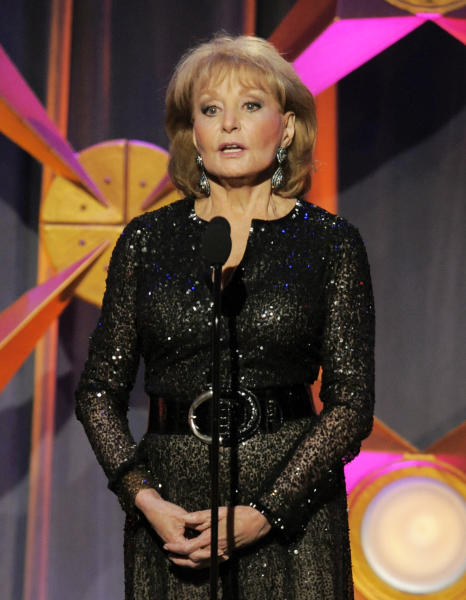 "FILE - This June 23, 2012 file photo shows Barbara Walters presenting an award onstage at the 39th Annual Daytime Emmy Awards in Beverly Hills, Calif. Walters has the chickenpox and remains hospitalized more than a week after going in after falling and hitting her head at a pre-inaugural party in Washington on Jan. 19. A fellow host on the ""The View,"" Whoopi Goldberg, said Monday, Jan. 28, that Walters has been transferred to a New York hospital and hopes to go home soon. (Photo by Chris Pizzello/Invision/AP, file)"