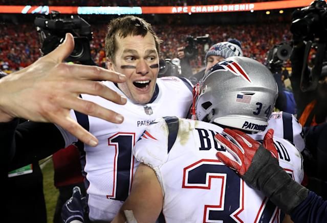While most are weary of seeing Tom Brady's face in the Super Bowl, it's difficult for many not to respect the achievement of his ninth straight AFC championship. (Getty)