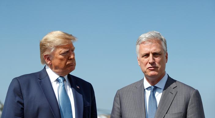"""National Security Adviser Robert O'Brien, right, said Monday morning that it """"obviously"""" looks as if former vice president Joe Biden won the election. (Tom Brenner/Reuters)"""