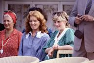 <p>A pregnant Princess Diana sitting with future-sister-in-law Sarah Ferguson, watching Prince Charles and Prince Andrew playing polo at Guards Polo Club in Windsor.</p>