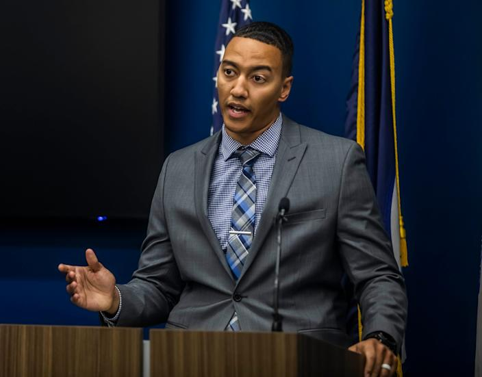 Detective Chris Dickerson speaks during a press conference held at Metro Nashville Police Headquarters announcing a suspect was arrested for the murder of Caitlyn Kaufman Friday, December 11, 2020.