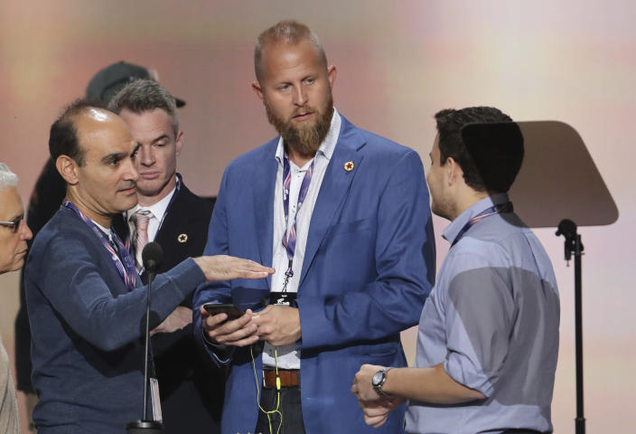"""<span class=""""s1"""">Brad Parscale, center, then Donald Trump's campaign digital director, at the Republican convention in Cleveland in 2016. (Photo: J. Scott Applewhite/AP)</span>"""