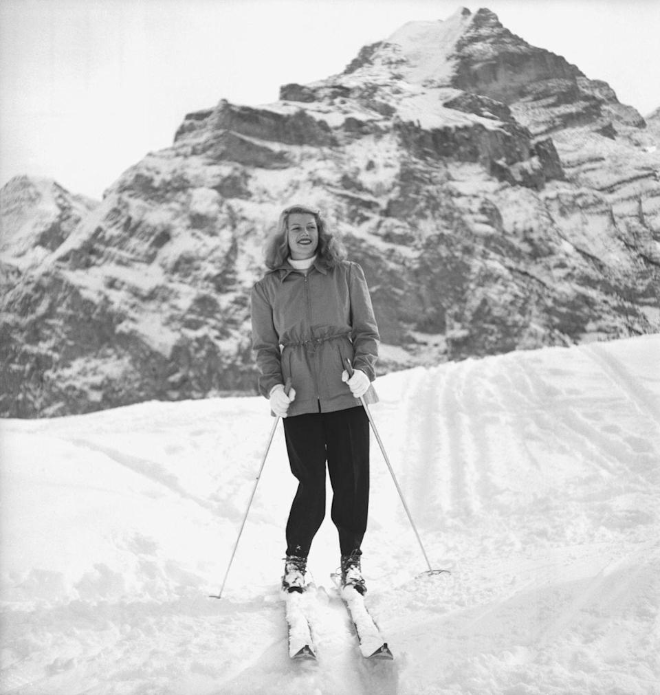 <p>We'd like to follow the lead of Rita Hayworth and escape to the Swiss Alps for the holiday season. The screen siren spent Christmas and New Years in Mürren with her family in 1949. </p>